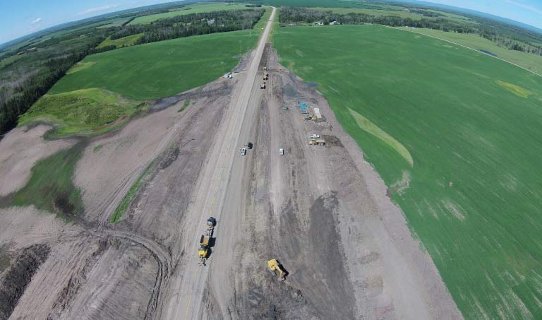 Northern Road Builders - Aerial View, Road Construction - La Crete, Alberta