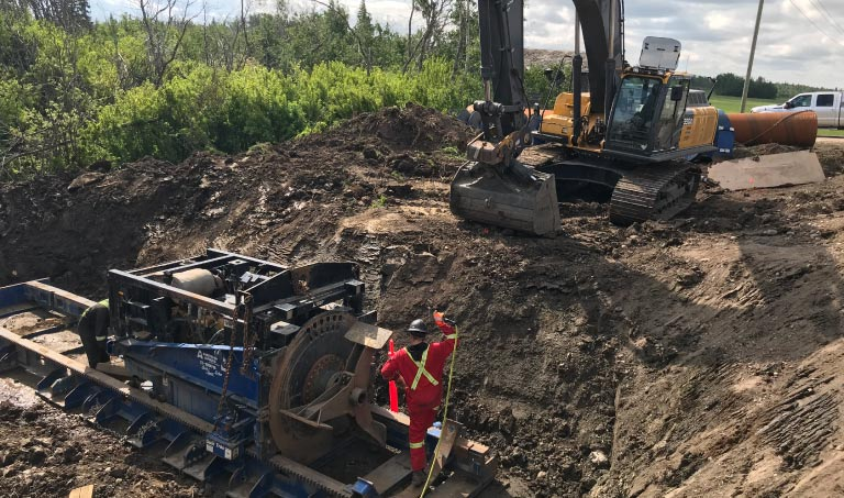 Northern Road Builders - Augering and Drilling in Progress - La Crete, Alberta